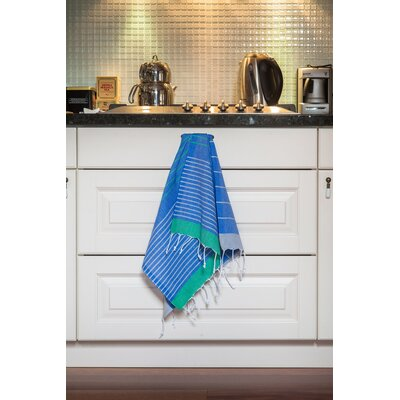 Knidos 100% Cotton Hand Towel Color: Gray Base with Royal Blue and Green Stripes
