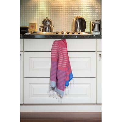 Knidos 100% Cotton Hand Towel Color: Red Base with Royal Blue and Gray Stripes