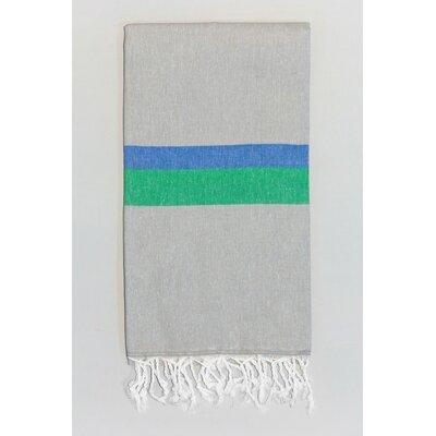 Knidos 100% Cotton Beach Towel Color: Gray/Royal Blue/Green