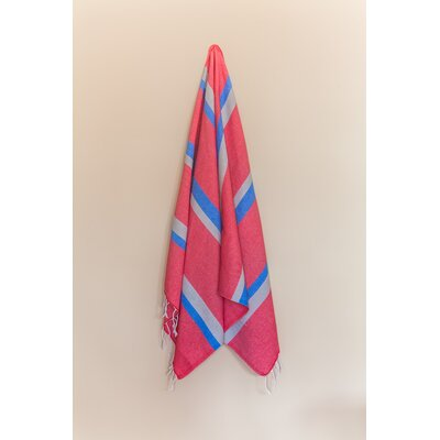 Knidos 100% Cotton Beach Towel Color: Red/Gray/Royal Blue