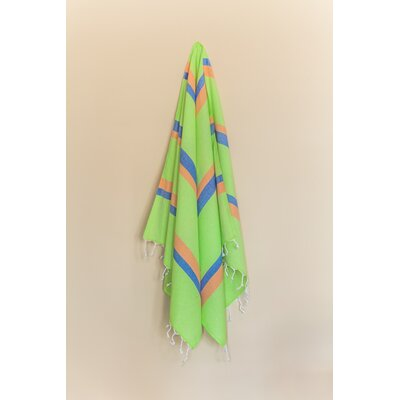 Knidos 100% Cotton Beach Towel Color: Lime Green/Orange/Royal Blue