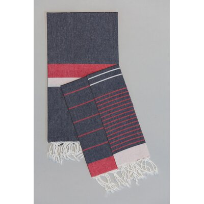 Knidos 100% Cotton Hand Towel Color: Navy Base with Red and White Stripes