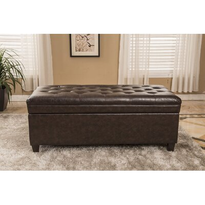 Classic Waxed Texture Dark Tufted Wood Storage Bench