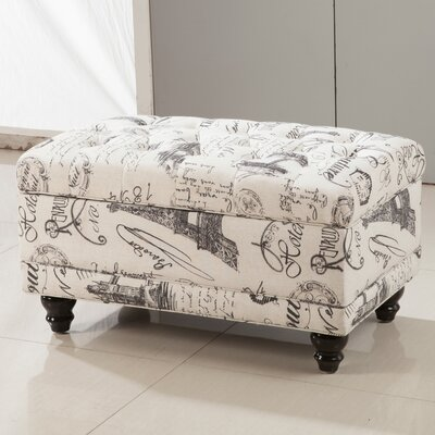 Traditional Paris Vintage French Writing Button Tufted Wood Storage Bench