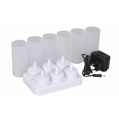 Bel Étage LED-Teelichter 6-flammig mit Windschutz und Ladestation