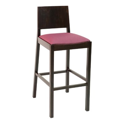 """CON Series 30"""" Bar Stool Upholstery: American Beauty Red, Base Color: Walnut"""