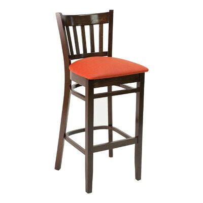 "FLS Series 30"" Bar Stool Upholstery: American Beauty Red, Base Color: Dark Mahogany"