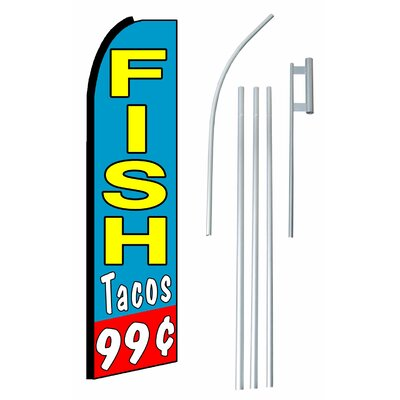 Fish Tacos 99 Cents Swooper Flag and Flagpole Set