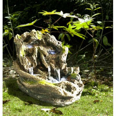 Fiber and Resin Branch and Moss Fountain with LED Light