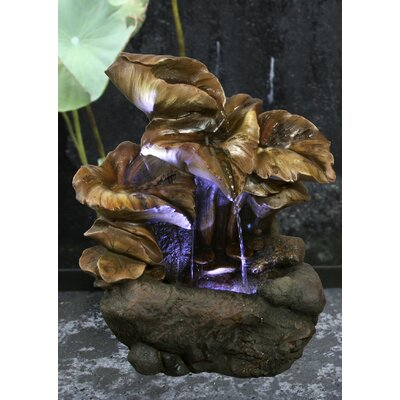 Fiber and Resin Water Lily Leaves Fountain with LED Light