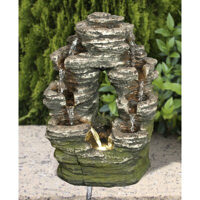 Resin Multi-Level Stone Fountain with LED Light