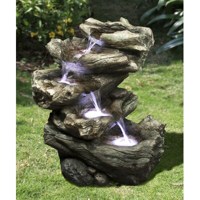 Resin Decorative 4 Level Log Fountain with LED Light