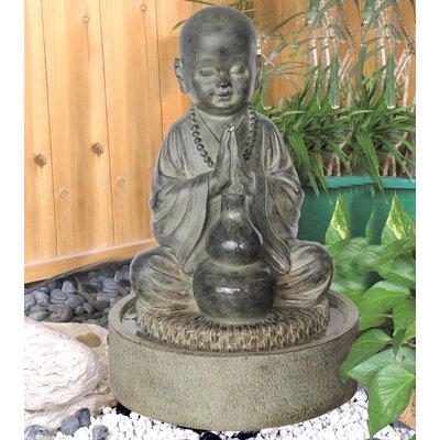 Resin Seated Child Buddha Praying Fountain Figurine