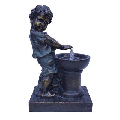 Resin Boy Playing Fountain