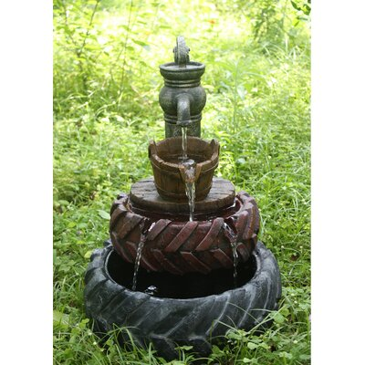 Resin Tractor 2 Tires with Hand Pump and Bucket Fountain