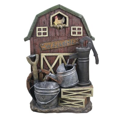 Resin Barn with Hand Pump Watering Can and Pail Fountain