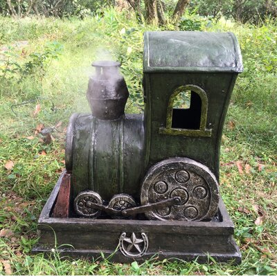 Resin Steam Engine Fountain with LED Light