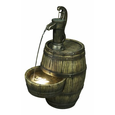 Resin Barrel with Hand Pump Fountain with Light