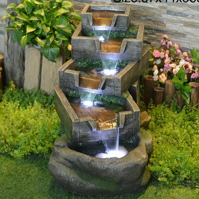 Resin Multi Level Pouring Garden Grates Fountain with Light