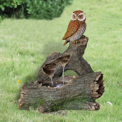 Owl Perched on a Log Resin Fountain with Light