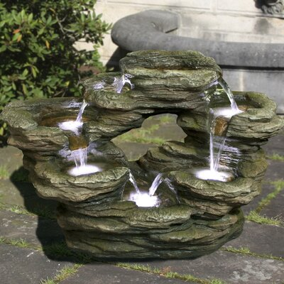 Polyresin Multilevel Rock Fountain with LED Light
