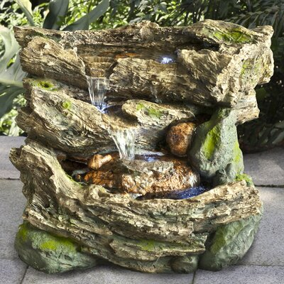 Resin Logs with Moss Waterfall Fountain with LED Light