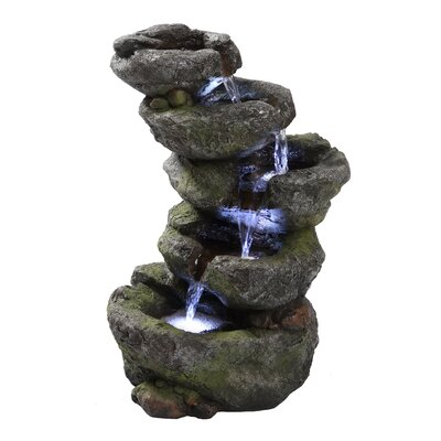 Polyresin Multi Level Rock Fountain with LED Light