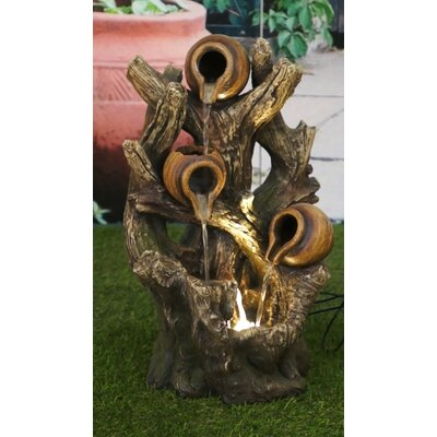 Polyresin Pouring Jugs on Tree Trunk Fountain with LED Light