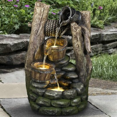 Polyresin Well 2 Pouring Pails Fountain with LED Light