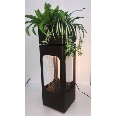 Metal Rain Shower Planter Fountain with Light