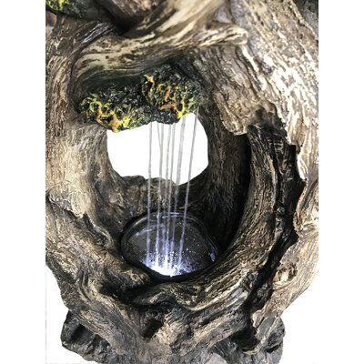 Resin Tree Trunk Rainfall Fountain with Light