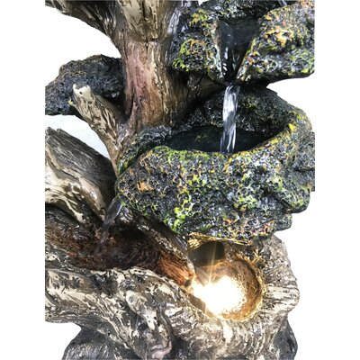 Resin Multi Level Tree Trunk Fountain with Light