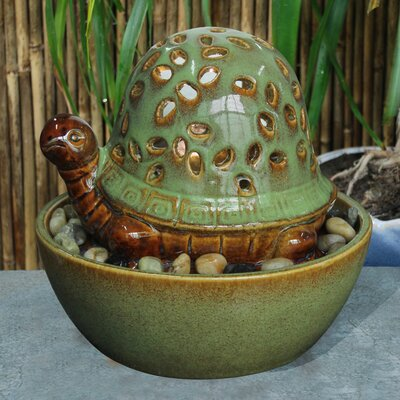 Ceramic Turtle in Bowl Fountain with Light