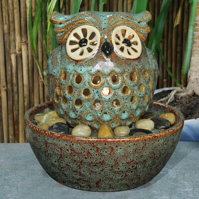 Ceramic Owl in Bowl Fountain with Light