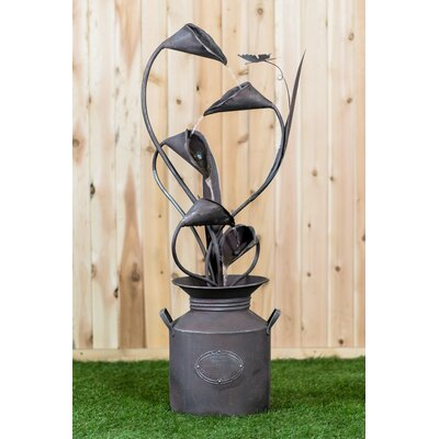 Metal Calla Lilu with Leaves in a Jug Fountain