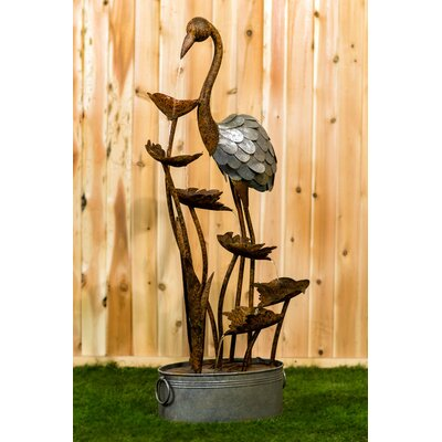 Metal Flamingo with Leaves in a Pail Fountain