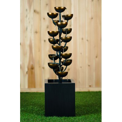 "Metal Cups Fountain Size: 37.5"" H x 10.25"" W x 10.25"" D"