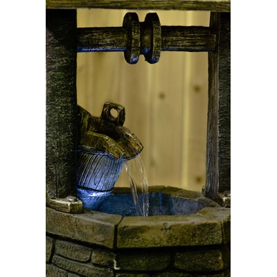 Resin Wishing Well with Pouring Bucket Lighted Fountain