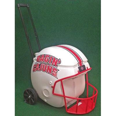 40 Qt. Football Helmet Ice Chest Rolling Cooler NCAA Team: Ragin Cajun
