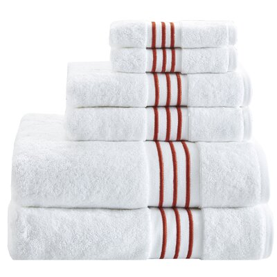 Elloy 6 Piece 100% Cotton Towel Set Color: Spice