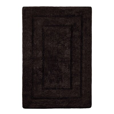"Abraham Ultra Soft Rectangular Embossed Solid Bath Mat Color: Black, Size: 24"" x 40"""