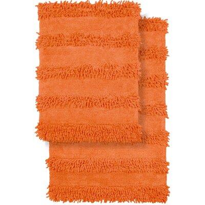 2 Piece Modern Cotton Chenille Solid Bath Mat Rug Set Color: Orange