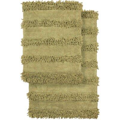 2 Piece Modern Cotton Chenille Solid Bath Mat Rug Set Color: Green