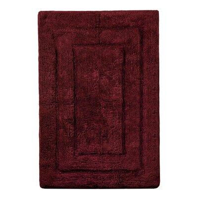 "Abraham Ultra Soft Rectangular Embossed Solid Bath Mat Color: Burgandy, Size: 24"" x 40"""