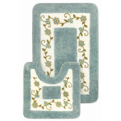 15 Piece Floral Bath Mat and Shower Curtain Set Color: Blue