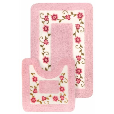 15 Piece Floral Bath Mat and Shower Curtain Set Color: Pink