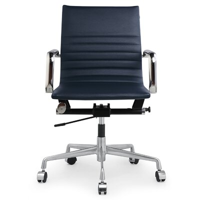 Vegan Leather Office Chair Color: Navy Blue, Frame Finish: Aluminum