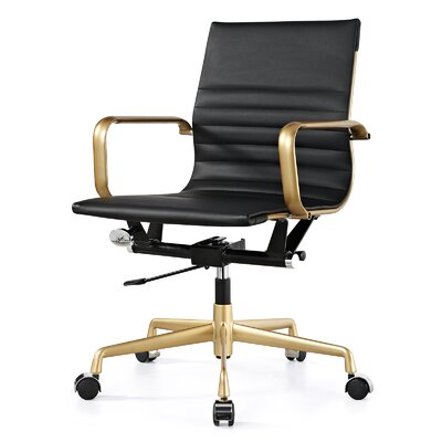Vegan Leather Office Chair Color: Black, Frame Finish: Gold