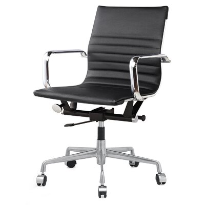 Vegan Leather Office Chair Color: Black, Frame Finish: Aluminum