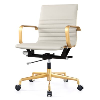 Vegan Leather Office Chair Color: Grey, Frame Finish: Gold